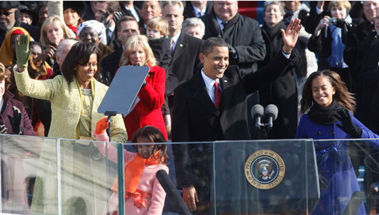 President Obama and his family on Inauguration Day